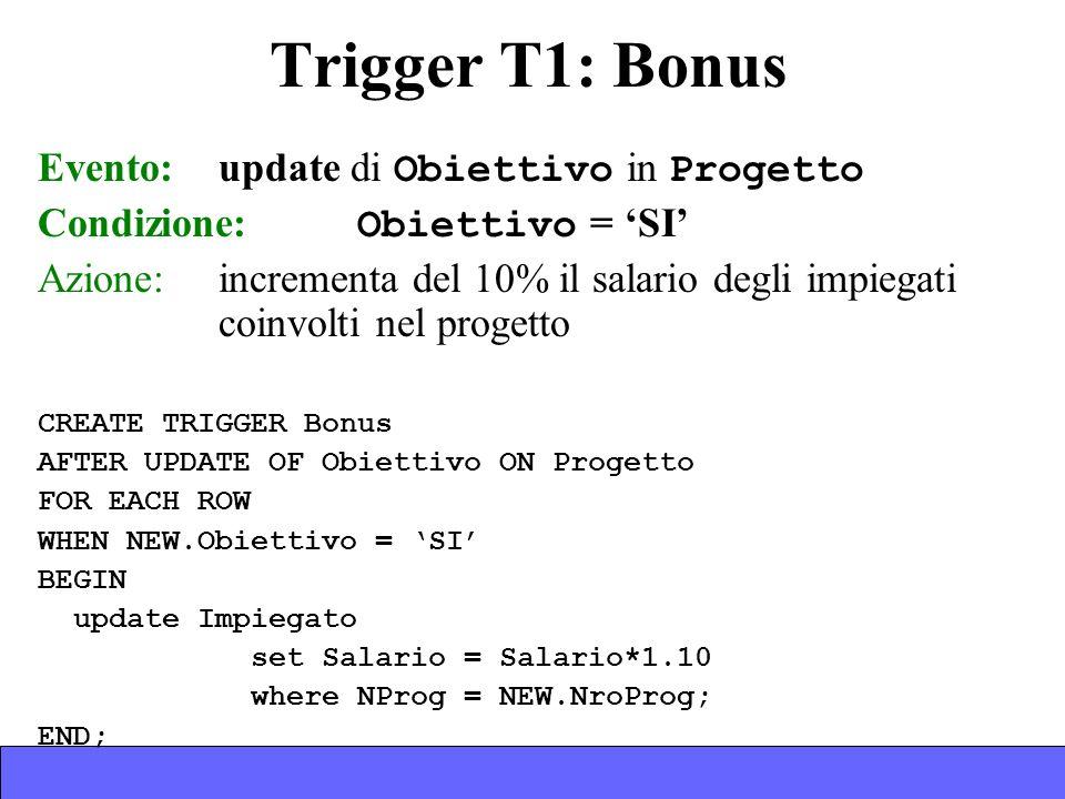 Trigger T1: Bonus Evento: update di Obiettivo in Progetto Condizione: Obiettivo = SI Azione:incrementa del 10% il salario degli impiegati coinvolti nel progetto CREATE TRIGGER Bonus AFTER UPDATE OF Obiettivo ON Progetto FOR EACH ROW WHEN NEW.Obiettivo = SI BEGIN update Impiegato set Salario = Salario*1.10 where NProg = NEW.NroProg; END;
