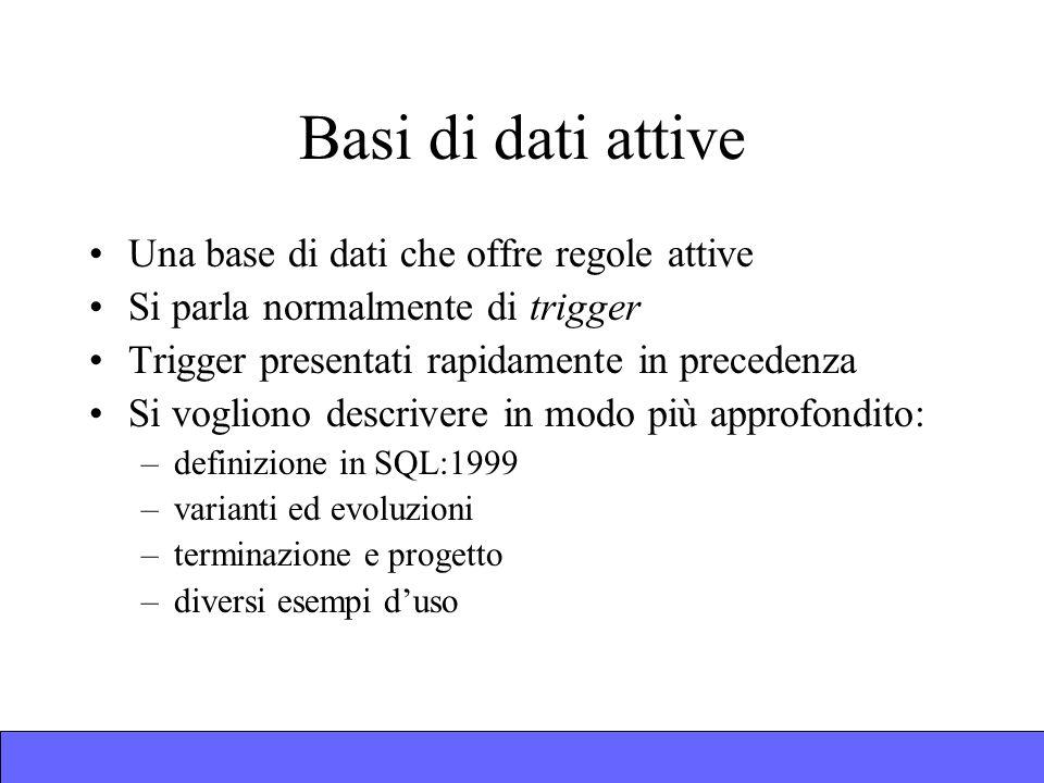 Una base di dati che offre regole attive Si parla normalmente di trigger Trigger presentati rapidamente in precedenza Si vogliono descrivere in modo più approfondito: –definizione in SQL:1999 –varianti ed evoluzioni –terminazione e progetto –diversi esempi duso