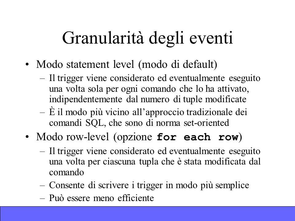 Granularità degli eventi Modo statement level (modo di default) –Il trigger viene considerato ed eventualmente eseguito una volta sola per ogni comando che lo ha attivato, indipendentemente dal numero di tuple modificate –È il modo più vicino allapproccio tradizionale dei comandi SQL, che sono di norma set-oriented Modo row-level (opzione for each row ) –Il trigger viene considerato ed eventualmente eseguito una volta per ciascuna tupla che è stata modificata dal comando –Consente di scrivere i trigger in modo più semplice –Può essere meno efficiente