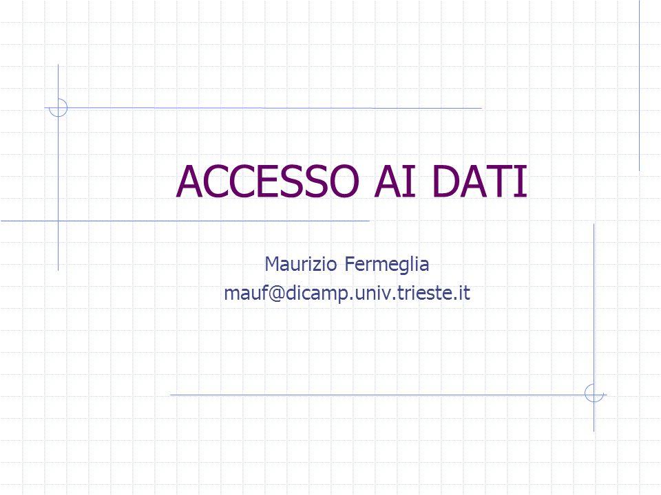 ACCESSO AI DATI Maurizio Fermeglia mauf@dicamp.univ.trieste.it