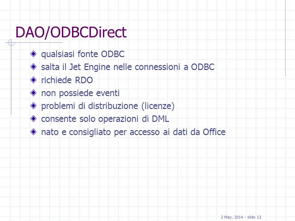 2 May, 2014 - slide 13 DAO/ODBCDirect qualsiasi fonte ODBC salta il Jet Engine nelle connessioni a ODBC richiede RDO non possiede eventi problemi di d