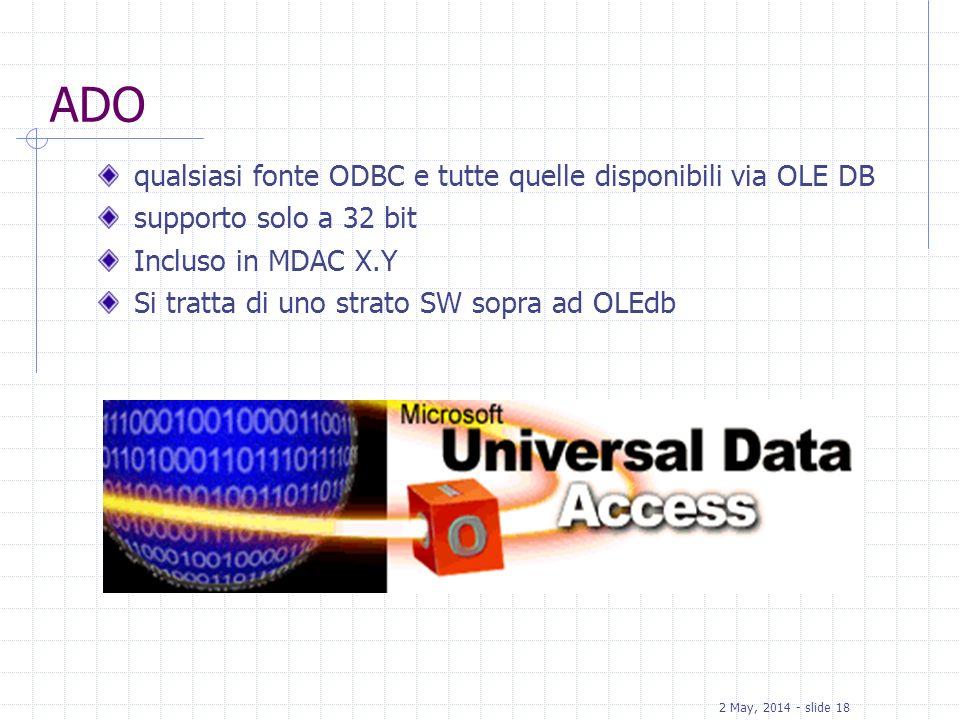 2 May, 2014 - slide 18 ADO qualsiasi fonte ODBC e tutte quelle disponibili via OLE DB supporto solo a 32 bit Incluso in MDAC X.Y Si tratta di uno stra