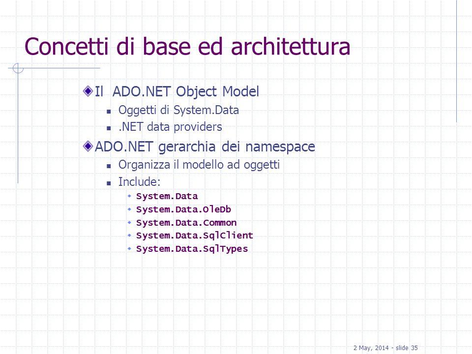 2 May, 2014 - slide 35 Concetti di base ed architettura Il ADO.NET Object Model Oggetti di System.Data.NET data providers ADO.NET gerarchia dei namesp