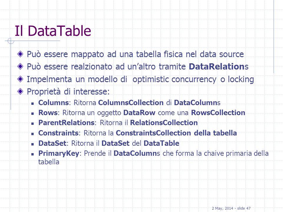 2 May, 2014 - slide 47 Il DataTable Può essere mappato ad una tabella fisica nel data source Può essere realzionato ad unaltro tramite DataRelations I