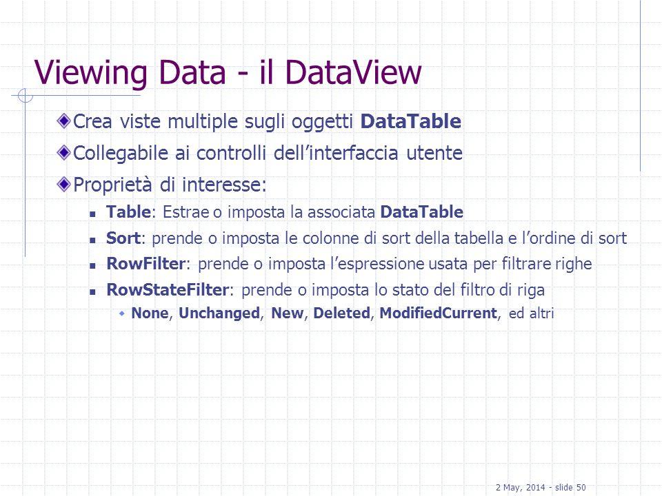 2 May, 2014 - slide 50 Viewing Data - il DataView Crea viste multiple sugli oggetti DataTable Collegabile ai controlli dellinterfaccia utente Propriet