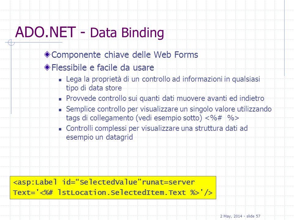 2 May, 2014 - slide 58 ADO.NET Classi System.Data.SqlClient Namespace Managed provider nativo per SQL Server Costruito su TDS (Tabular Data Stream) per ottenere alte performance in SQL Server SqlConnection, SqlCommand e SqlDataReader classes Classi per Error handling Connection pooling (implicitamente abilitate per default ) System.Data.SqlTypes fornisce classi per data types nativi di SQL Server
