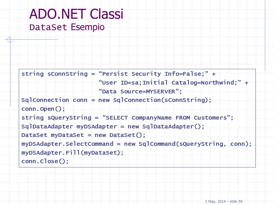 2 May, 2014 - slide 59 ADO.NET Classi DataSet Esempio string sConnString = Persist Security Info=False; + User ID=sa;Initial Catalog=Northwind; + Data