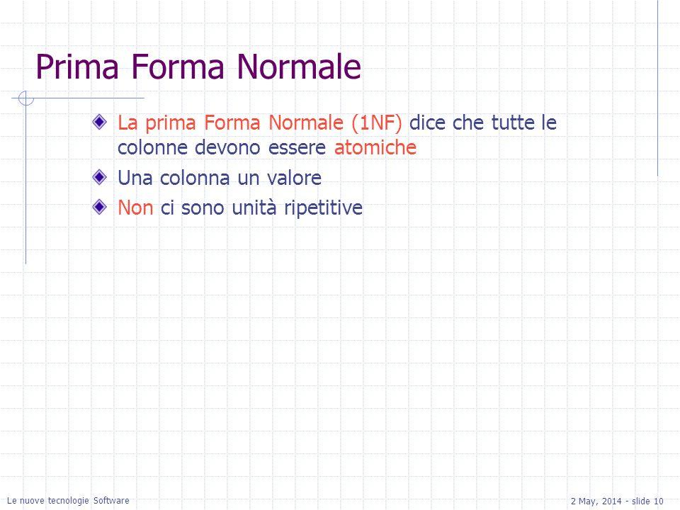 2 May, 2014 - slide 10 Le nuove tecnologie Software Prima Forma Normale La prima Forma Normale (1NF) dice che tutte le colonne devono essere atomiche Una colonna un valore Non ci sono unità ripetitive