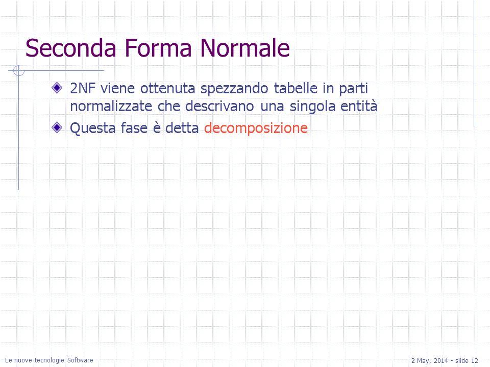 2 May, 2014 - slide 12 Le nuove tecnologie Software Seconda Forma Normale 2NF viene ottenuta spezzando tabelle in parti normalizzate che descrivano una singola entità Questa fase è detta decomposizione