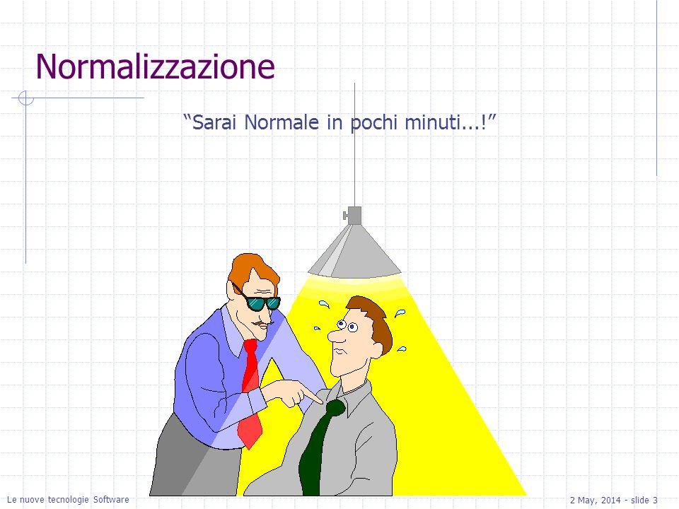 2 May, 2014 - slide 3 Le nuove tecnologie Software Normalizzazione Sarai Normale in pochi minuti...!