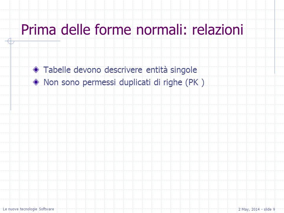 2 May, 2014 - slide 9 Le nuove tecnologie Software Prima delle forme normali: relazioni Tabelle devono descrivere entità singole Non sono permessi duplicati di righe (PK )
