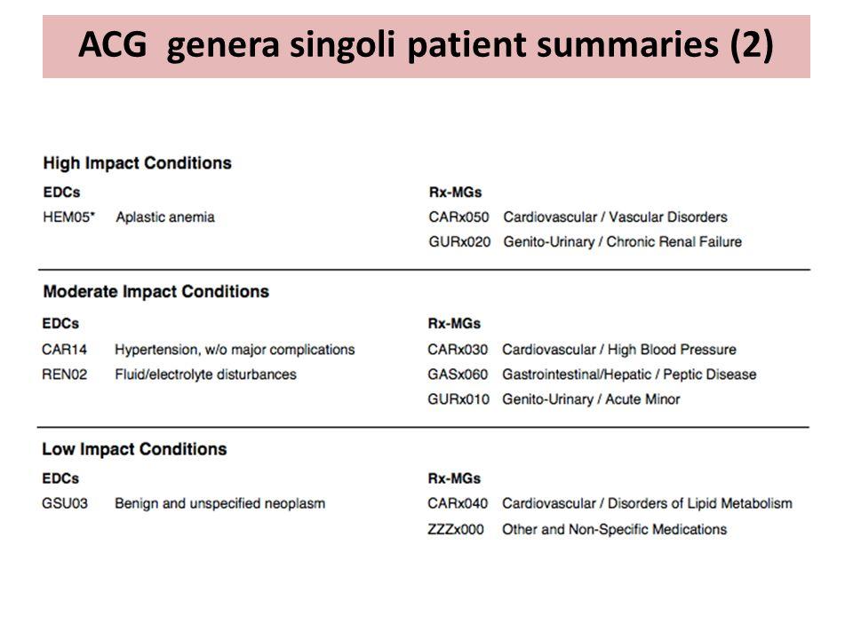ACG genera singoli patient summaries (2)