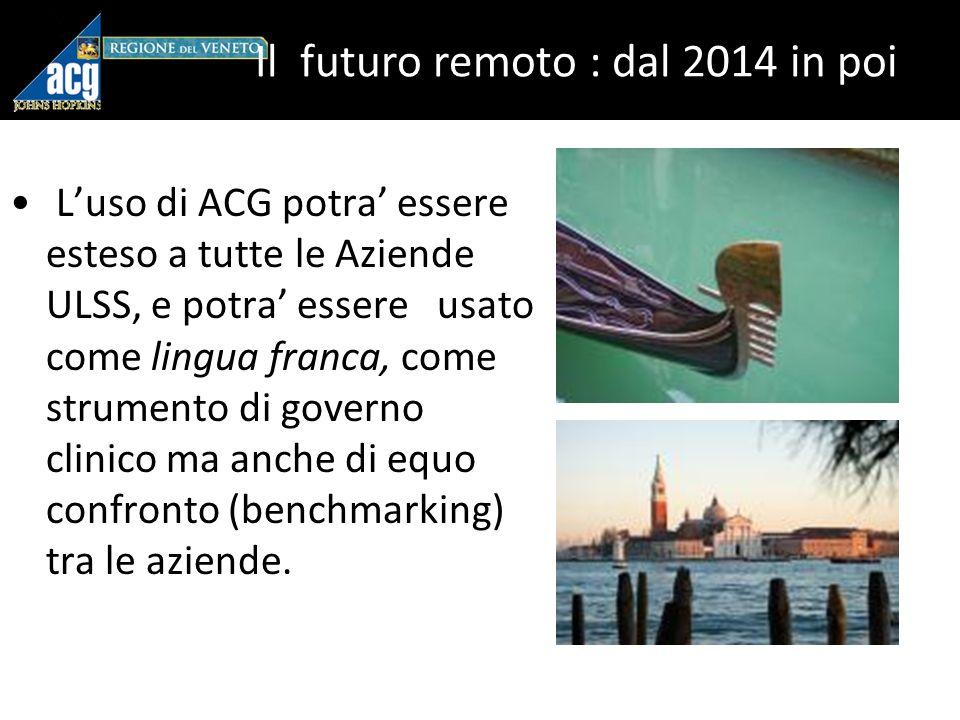 Il futuro remoto : dal 2014 in poi Luso di ACG potra essere esteso a tutte le Aziende ULSS, e potra essere usato come lingua franca, come strumento di governo clinico ma anche di equo confronto (benchmarking) tra le aziende.