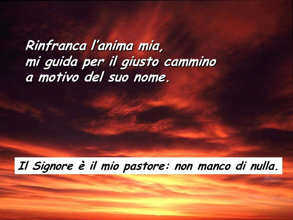 Salmo 22 Il Signore è il mio pastore: non manco di nulla. Su pascoli erbosi mi fa riposare. Ad acque tranquille mi conduce. Il Signore è il mio pastor