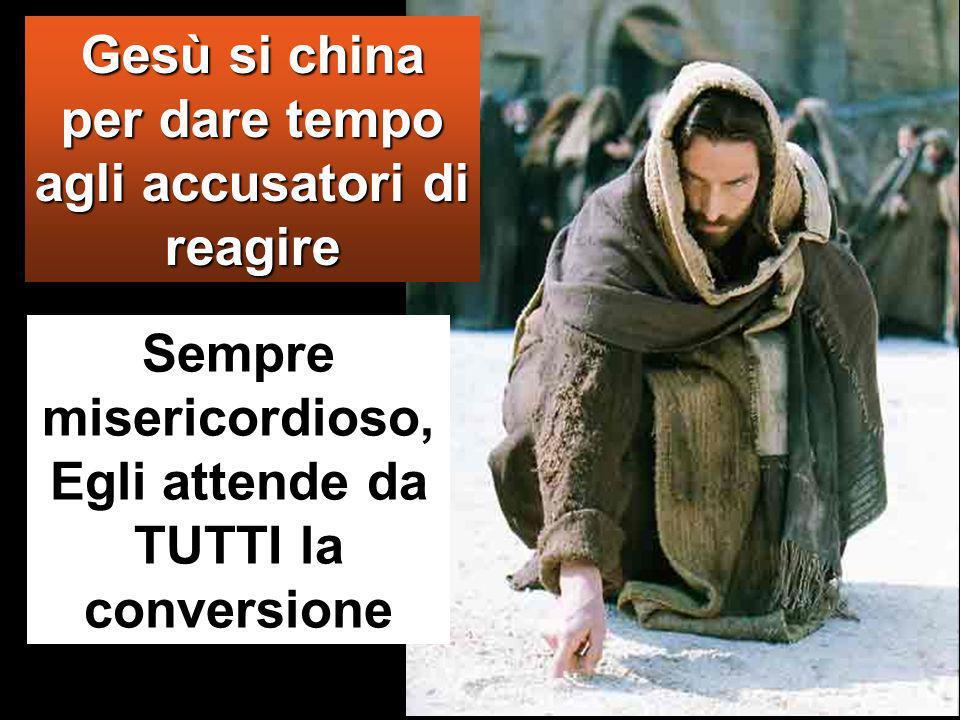Dicevano questo per metterlo alla prova e per avere motivo di accusarlo. Ma Gesù si chinò e si mise a scrivere col dito per terra.