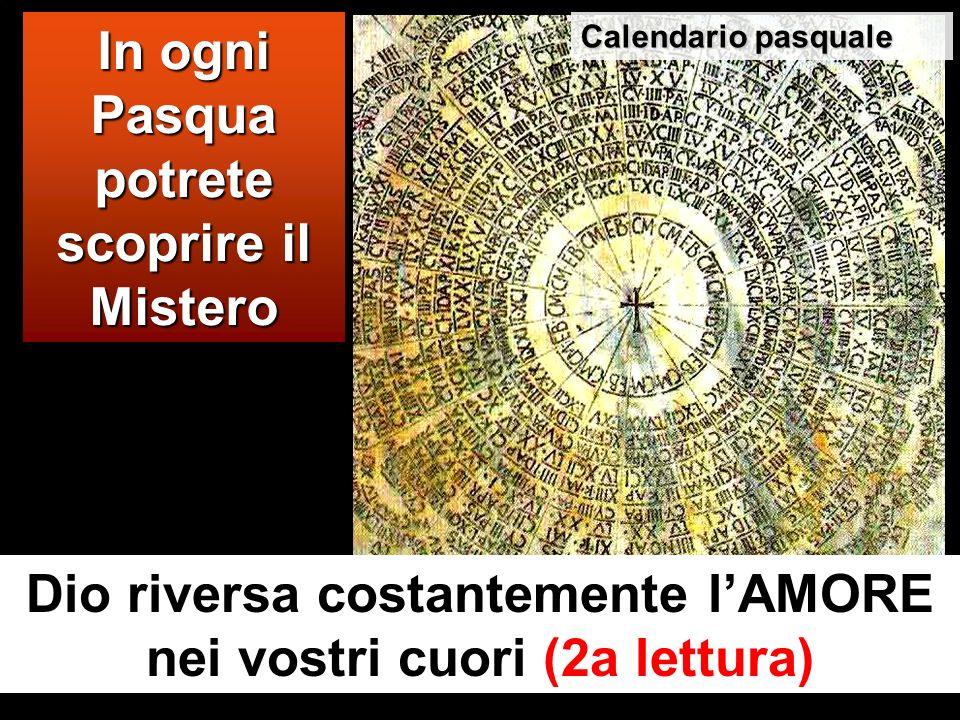 In ogni Pasqua potrete scoprire il Mistero Dio riversa costantemente lAMORE nei vostri cuori (2a lettura) Calendario pasquale
