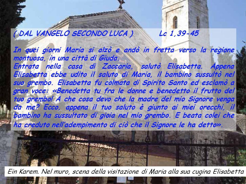 ( DAL VANGELO SECONDO LUCA ) Lc 1,39-45 In quei giorni Maria si alzò e andò in fretta verso la regione montuosa, in una città di Giuda.