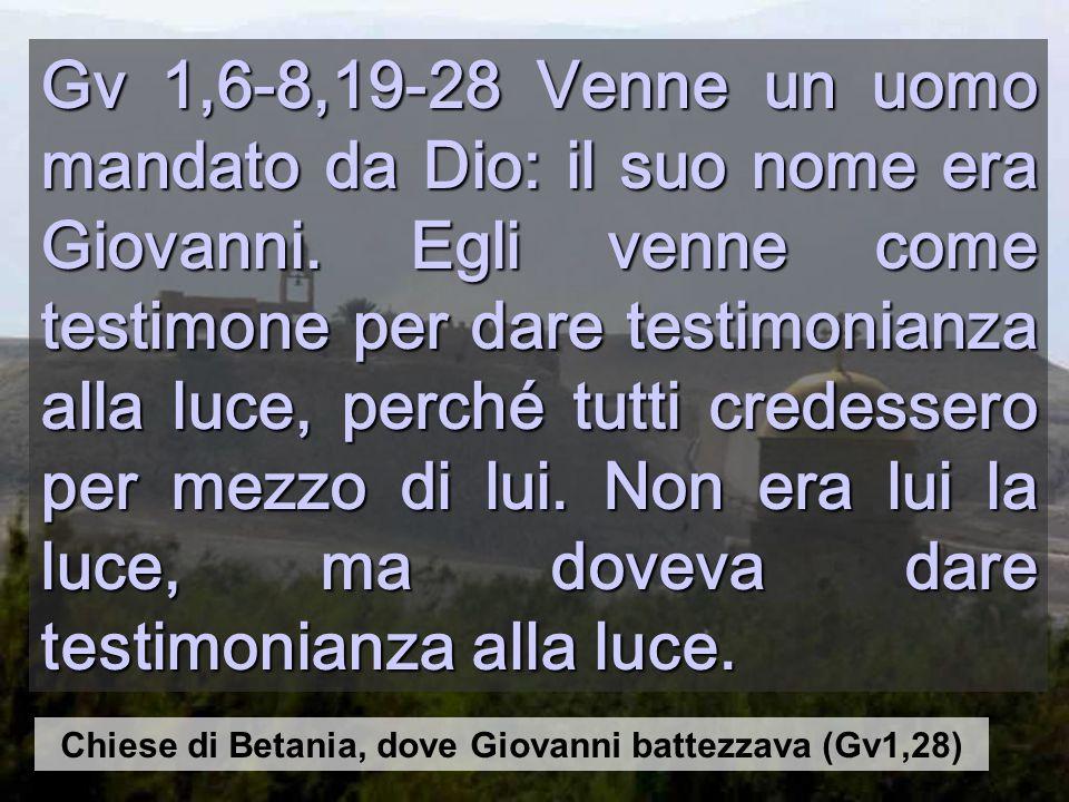 Gv 1,6-8,19-28 Venne un uomo mandato da Dio: il suo nome era Giovanni.