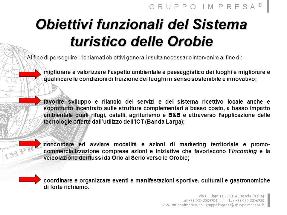 Obiettivi funzionali del Sistema turistico delle Orobie Al fine di perseguire i richiamati obiettivi generali risulta necessario intervenire al fine d