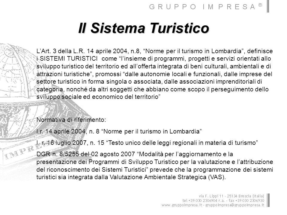 Il Sistema Turistico LArt. 3 della L.R. 14 aprile 2004, n.8, Norme per il turismo in Lombardia, definisce i SISTEMI TURISTICI come linsieme di program