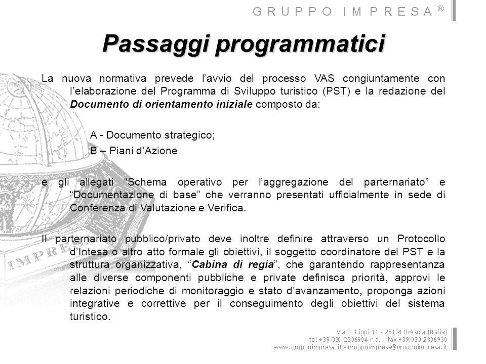 Passaggi programmatici La nuova normativa prevede lavvio del processo VAS congiuntamente con lelaborazione del Programma di Sviluppo turistico (PST) e