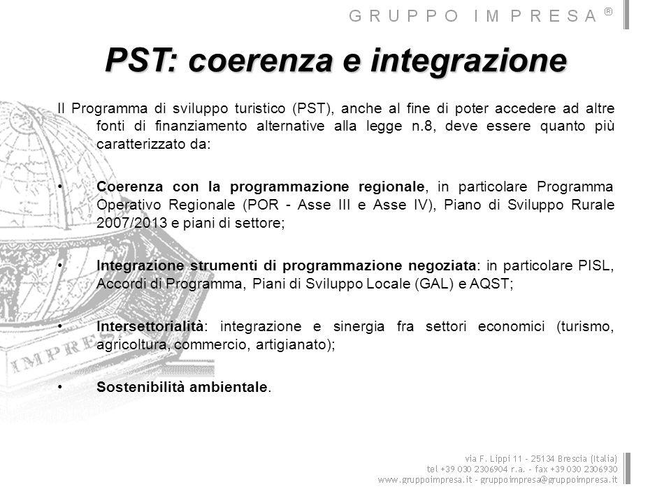 PST: coerenza e integrazione Il Programma di sviluppo turistico (PST), anche al fine di poter accedere ad altre fonti di finanziamento alternative all