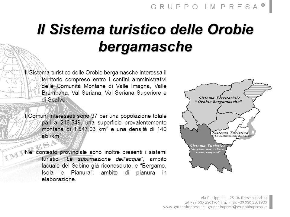 Il turismo nelle Orobie bergamasche I principali dati del 2006 forniti dallOsservatorio turistico della Provincia di Bergamo, sostanzialmente identici a quelli del 2005, evidenziano a livello provinciale: un turismo prevalentemente alberghiero (1.177.128 presenze su un totale di 1.457.864); una permanenza media sempre più bassa e un forte turn-over; una consistente presenza estera soprattutto in città (470.771 presenze di cui 238.375 nella città di Bergamo).