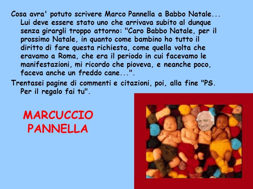 Cosa avra' potuto scrivere Marco Pannella a Babbo Natale... Lui deve essere stato uno che arrivava subito al dunque senza girargli troppo attorno: