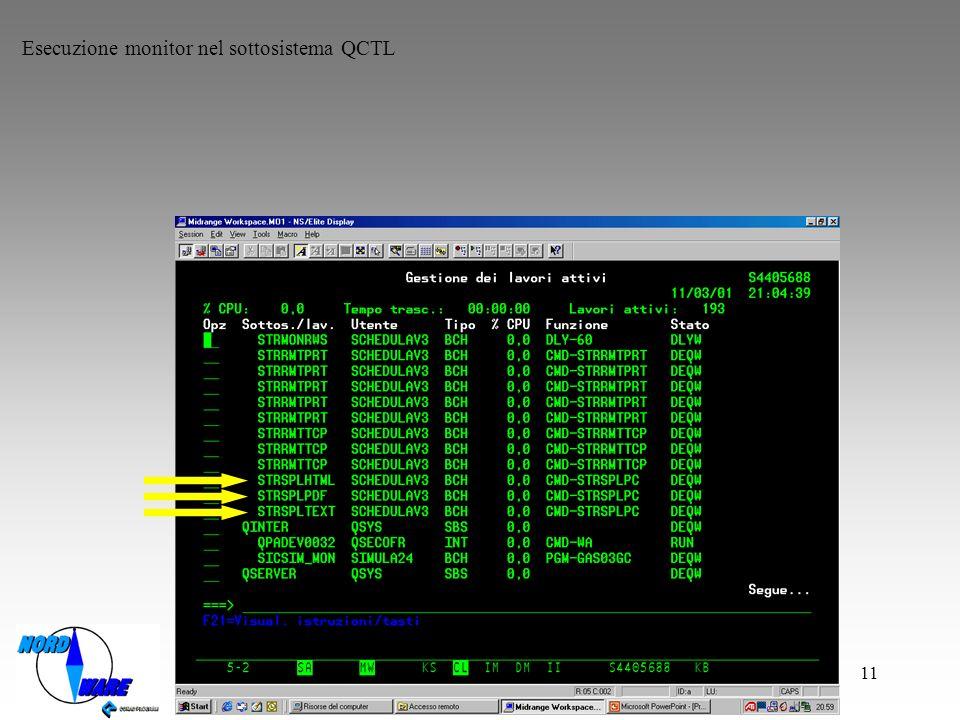 11 Esecuzione monitor nel sottosistema QCTL