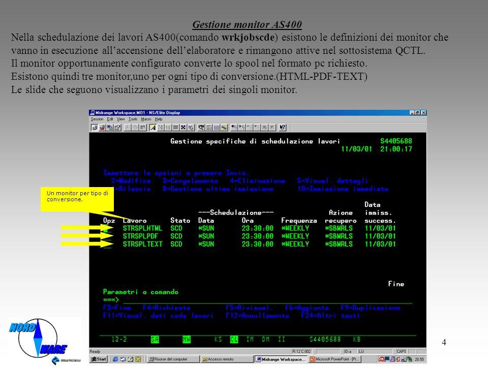 4 Gestione monitor AS400 Nella schedulazione dei lavori AS400(comando wrkjobscde) esistono le definizioni dei monitor che vanno in esecuzione allaccensione dellelaboratore e rimangono attive nel sottosistema QCTL.