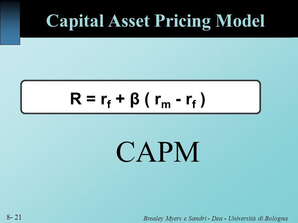 Brealey Myers e Sandri - Dea - Università di Bologna 8- 21 Capital Asset Pricing Model R = r f + β ( r m - r f ) CAPM