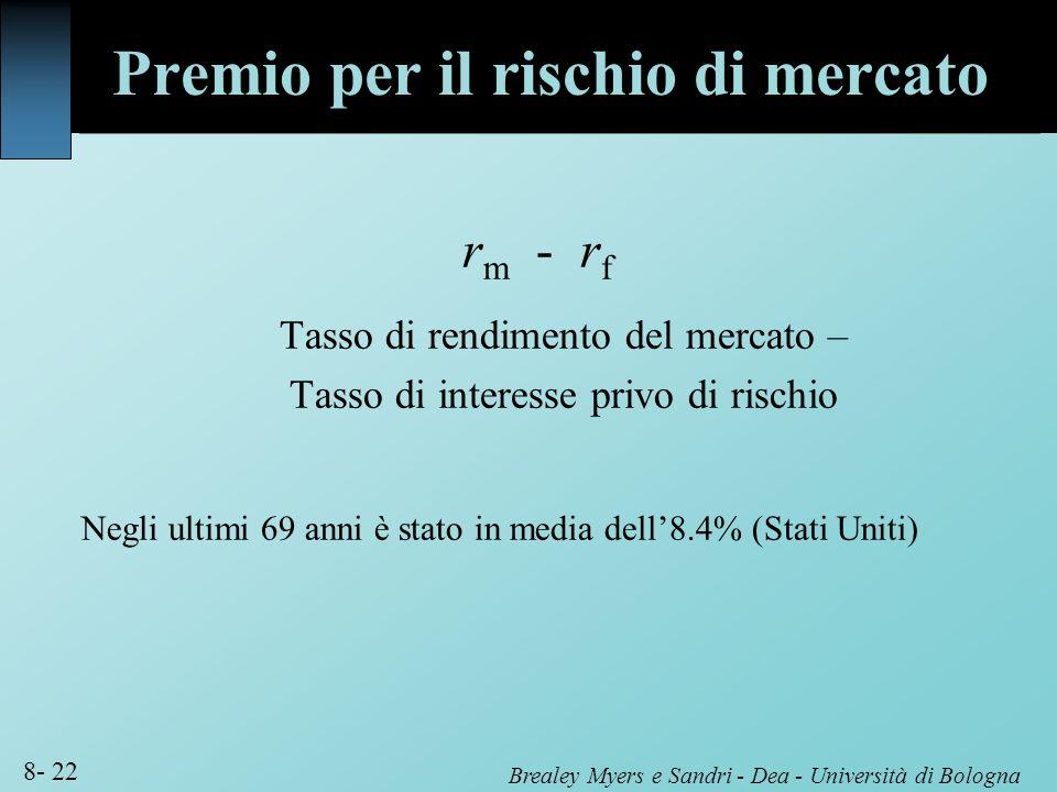 Brealey Myers e Sandri - Dea - Università di Bologna 8- 22 r m - r f Tasso di rendimento del mercato – Tasso di interesse privo di rischio Negli ultim