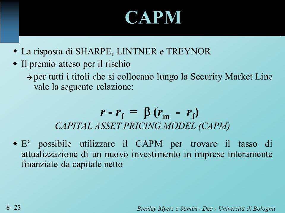 Brealey Myers e Sandri - Dea - Università di Bologna 8- 23 La risposta di SHARPE, LINTNER e TREYNOR Il premio atteso per il rischio per tutti i titoli