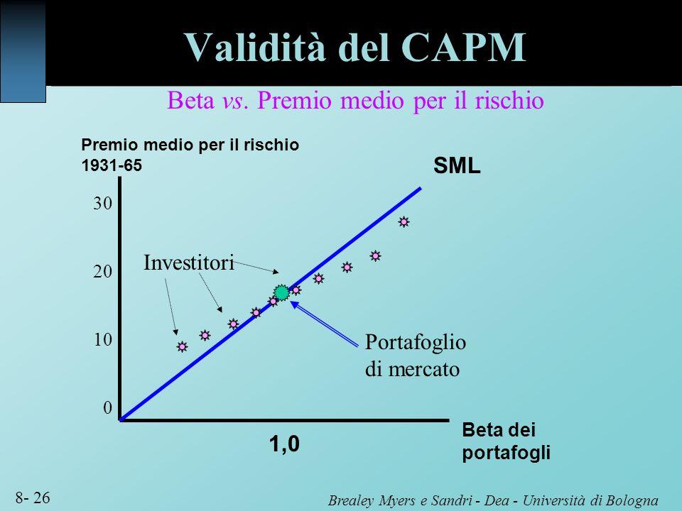 Brealey Myers e Sandri - Dea - Università di Bologna 8- 26 Validità del CAPM Premio medio per il rischio 1931-65 Beta dei portafogli 1,0 SML 30 20 10