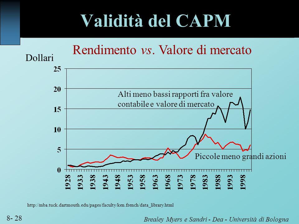 Brealey Myers e Sandri - Dea - Università di Bologna 8- 28 Alti meno bassi rapporti fra valore contabile e valore di mercato Rendimento vs. Valore di