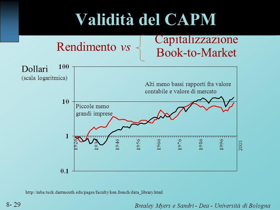 Brealey Myers e Sandri - Dea - Università di Bologna 8- 29 Rendimento vs Dollari (scala logaritmica) http://mba.tuck.dartmouth.edu/pages/faculty/ken.f