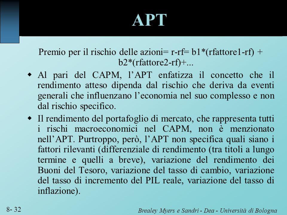 Brealey Myers e Sandri - Dea - Università di Bologna 8- 32 APT Premio per il rischio delle azioni= r-rf= b1*(rfattore1-rf) + b2*(rfattore2-rf)+... Al