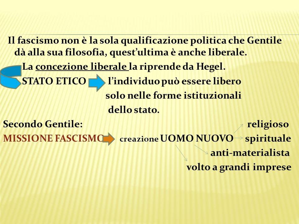 Il fascismo non è la sola qualificazione politica che Gentile dà alla sua filosofia, questultima è anche liberale. La concezione liberale la riprende