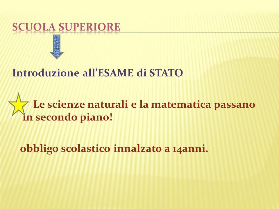 Introduzione allESAME di STATO Le scienze naturali e la matematica passano in secondo piano! _ obbligo scolastico innalzato a 14anni.