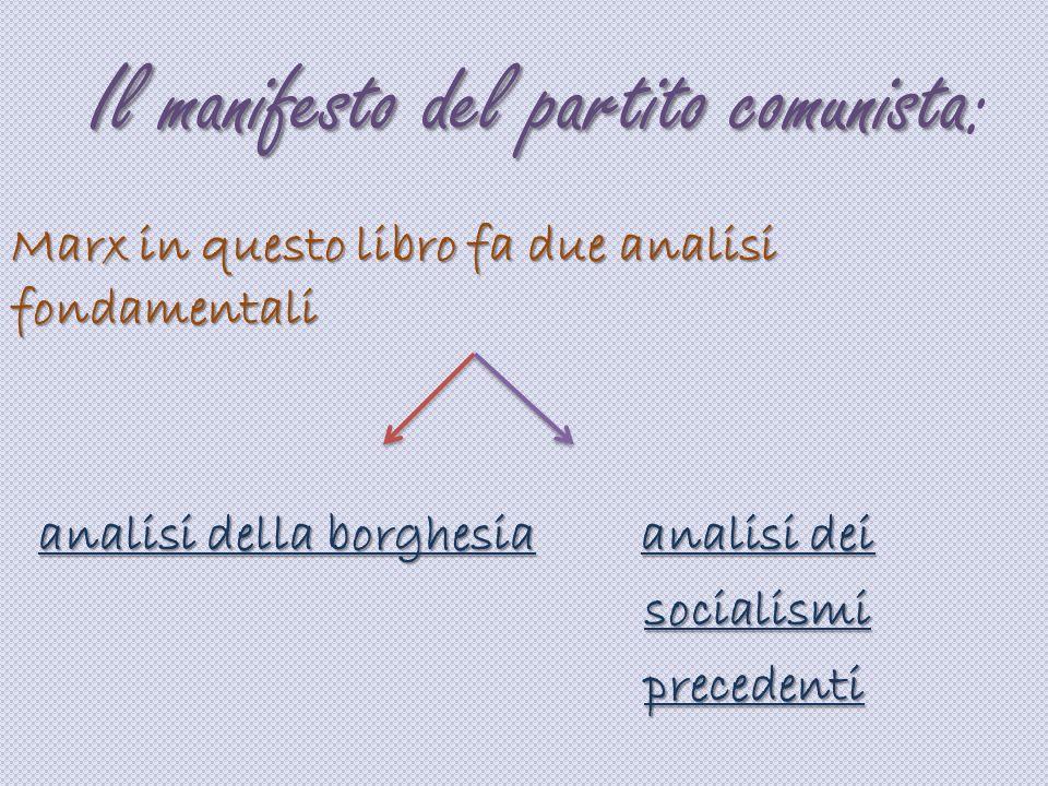 Il manifesto del partito comunista: Marx in questo libro fa due analisi fondamentali analisi della borghesia analisi dei analisi della borghesia anali