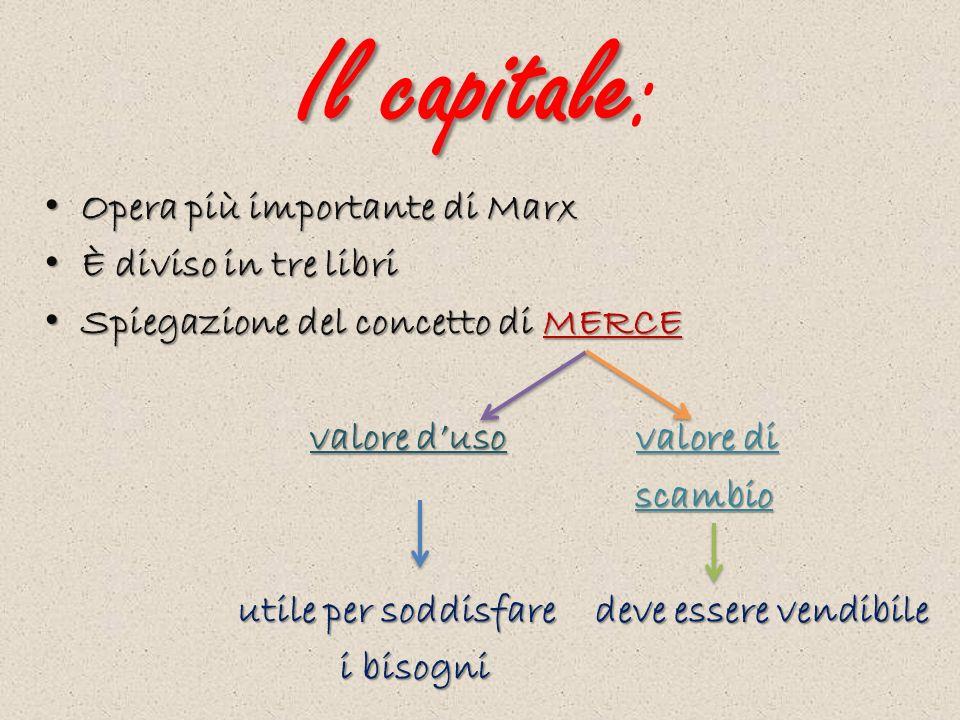 Il capitale Il capitale: Opera più importante di Marx È diviso in tre libri Spiegazione del concetto di MERCE valore duso valore di scambio utile per