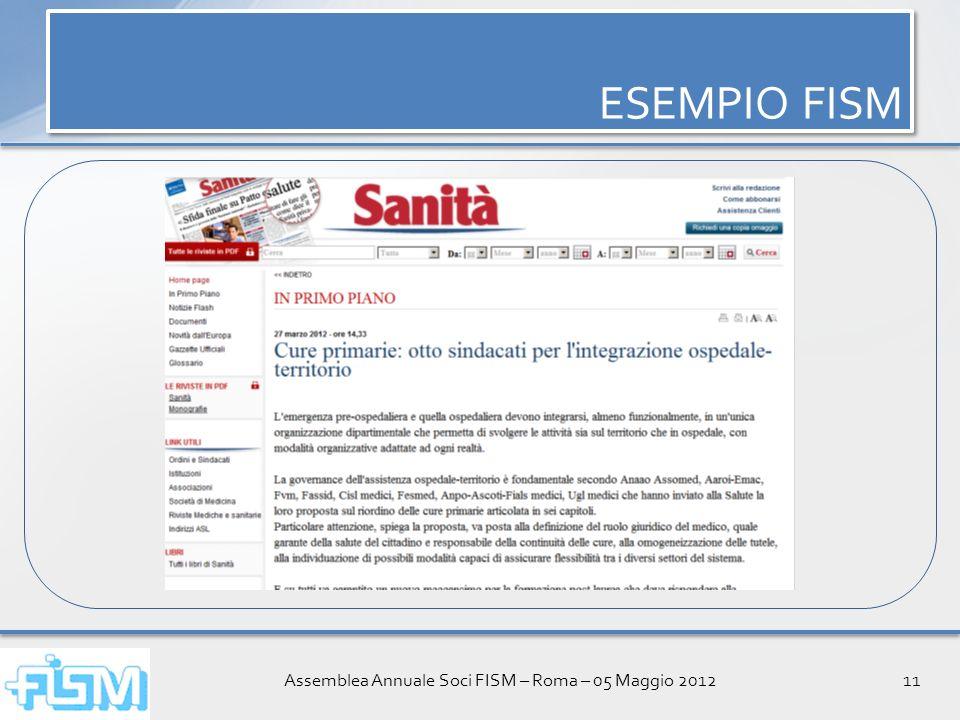 Assemblea Annuale Soci FISM – Roma – 05 Maggio 201211 ESEMPIO FISM