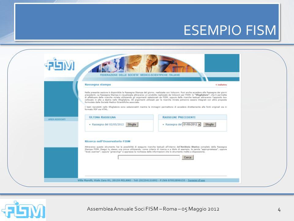Assemblea Annuale Soci FISM – Roma – 05 Maggio 20125 ESEMPIO FISM DEMO ESEMPIO FISM DEMO http://archiviorassegne.volocom.it/fism/