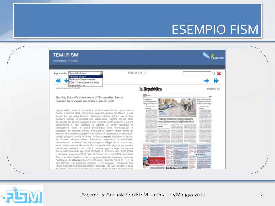 Assemblea Annuale Soci FISM – Roma – 05 Maggio 20128 ESEMPIO FISM