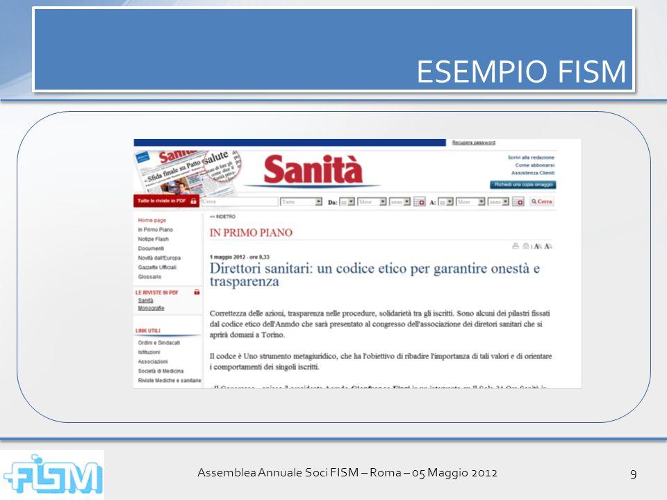 Assemblea Annuale Soci FISM – Roma – 05 Maggio 20129 ESEMPIO FISM