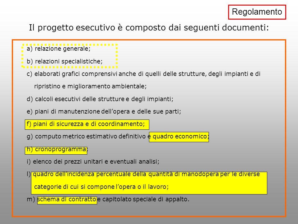 Il progetto esecutivo è composto dai seguenti documenti: a) relazione generale; b) relazioni specialistiche; c) elaborati grafici comprensivi anche di