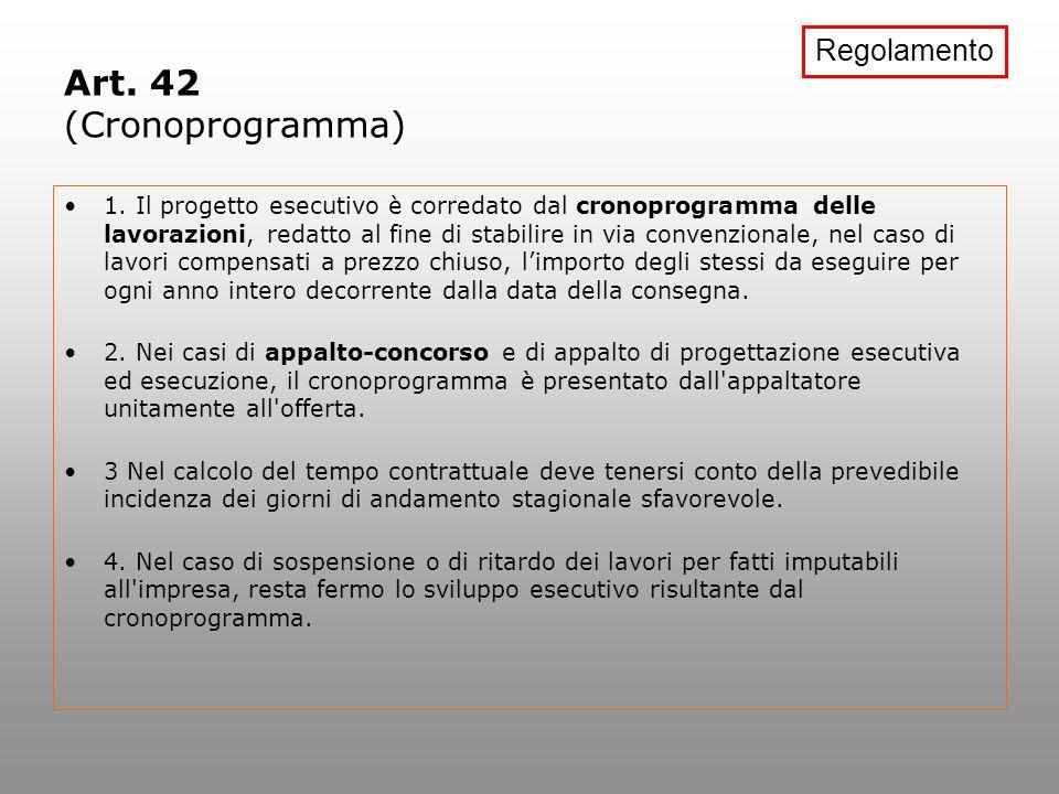 Art. 42 (Cronoprogramma) 1. Il progetto esecutivo è corredato dal cronoprogramma delle lavorazioni, redatto al fine di stabilire in via convenzionale,
