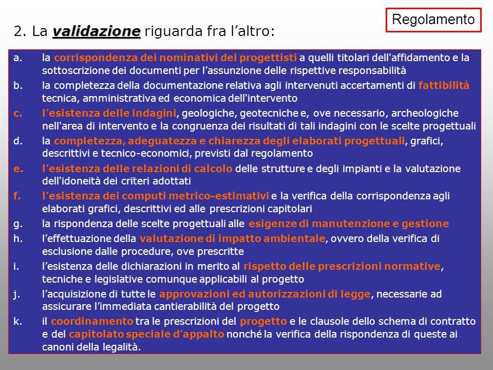validazione 2. La validazione riguarda fra laltro: a.la corrispondenza dei nominativi dei progettisti a quelli titolari dell'affidamento e la sottoscr