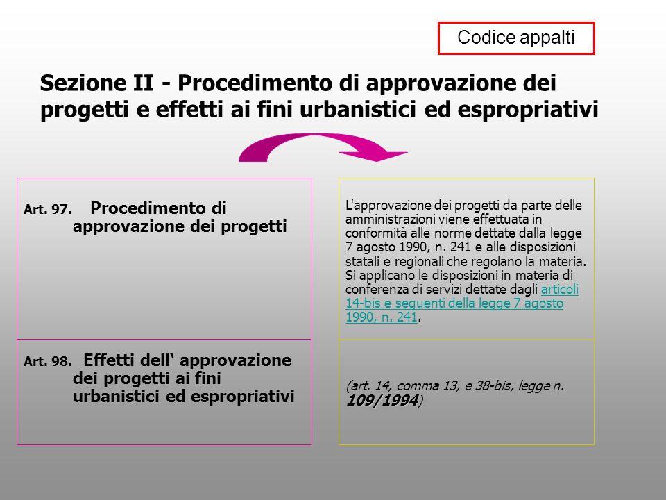 Sezione II - Procedimento di approvazione dei progetti e effetti ai fini urbanistici ed espropriativi Art. 97. Procedimento di approvazione dei proget
