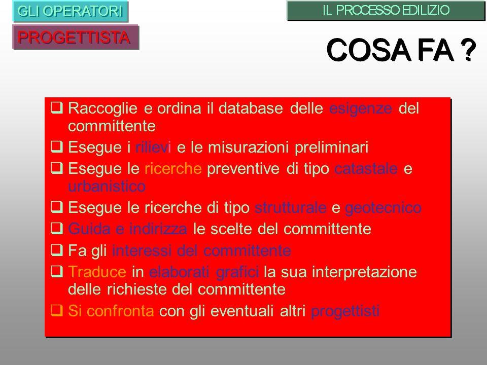 Raccoglie e ordina il database delle esigenze del committente Esegue i rilievi e le misurazioni preliminari Esegue le ricerche preventive di tipo cata